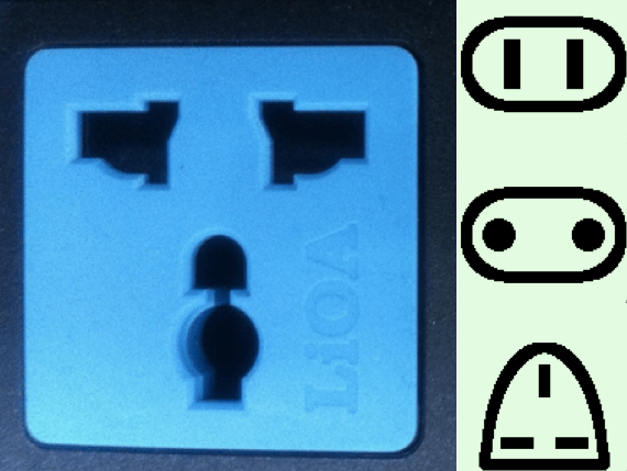 Many outlets in Vietnam are of the combination type and will accept three different plug shapes.
