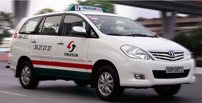 Vinasun taxis are found throughout the city - the characteristic white with red and green striped car is hard to miss!