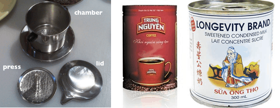 "These are things you need to make Vietnamese coffee: a special kind of coffee filter called a ""phin"", really strong and bitter coffee (traditionally the C. Robusta type of coffee is used which is naturally more bitter than other coffee types), and sweetened condensed milk."
