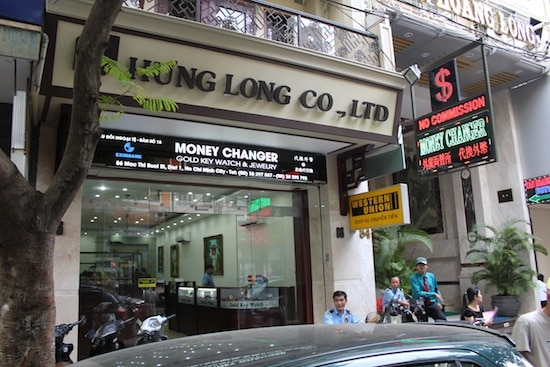 Although it is becoming more rare, the practice of exchanging USD at gold and jewelry shops is still prevalent in Vietnam. The exchange rate used to be significantly higher than banks and currency exchange booths but the difference is much smaller now.
