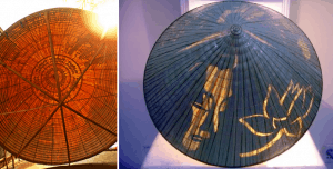 Beautiful 'non bai tho' with poetry and images imbedded within the leaf layers, visible only in sunlight.