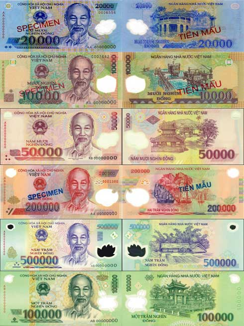 The front and back images of the money bills in Vietnam.  Make sure you know the difference because some of the colours are repeated!