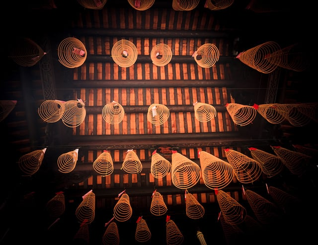Cone-shaped incense burners on the ceiling of the Pagoda.