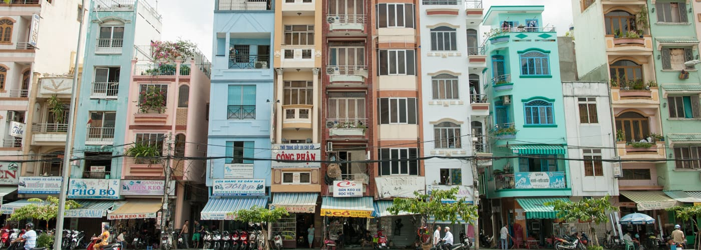 Tall and densely packed homes are very common in Vietnam. They are colloquially referred to as 'tube houses' because of their narrow tube-like shape.