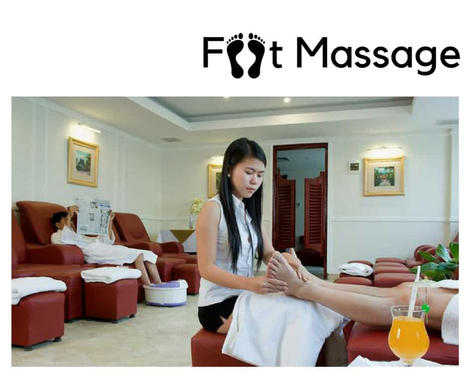 foot massage in a spa