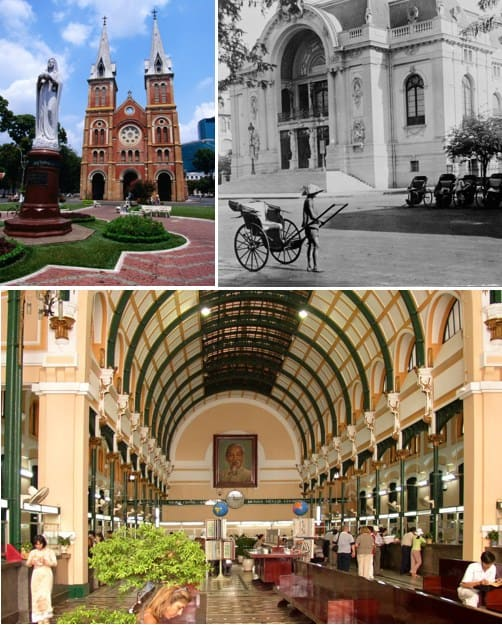 Colonial architecture in Ho Chi Minh City. The Notre Dame cathedral, the Saigon Opera House and the Post Office are some of the most popular tourist sights.