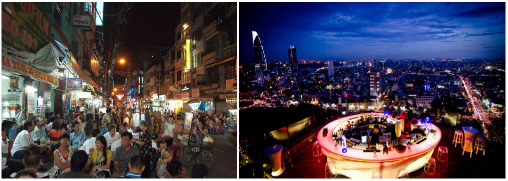 The different kinds of nightlife in the city - backpacker style with watering holes on the street and upscale rooftop bars with an amazing view of the city.