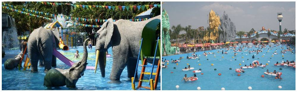 The Dam Sen Water Park and Suoi Tien Amusement Park in Saigon are a fun way to spend an afternoon with kids. (The elephants are not real).