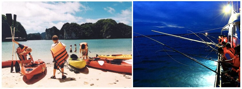 Kayaking and squid fishing are just two activities in Halong Bay that are a lot of fun for kids.