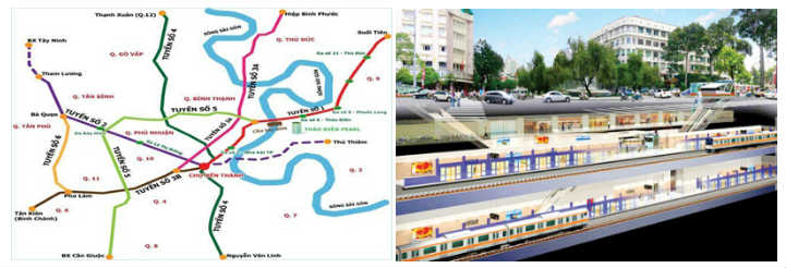 The proposed map and model of the Ho Chi Minh City Metro.