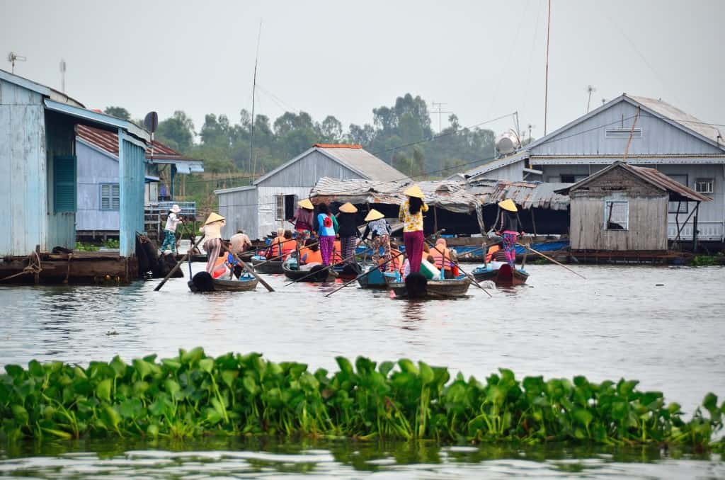 Boats on Mekong river in Chau Doc Vietnam