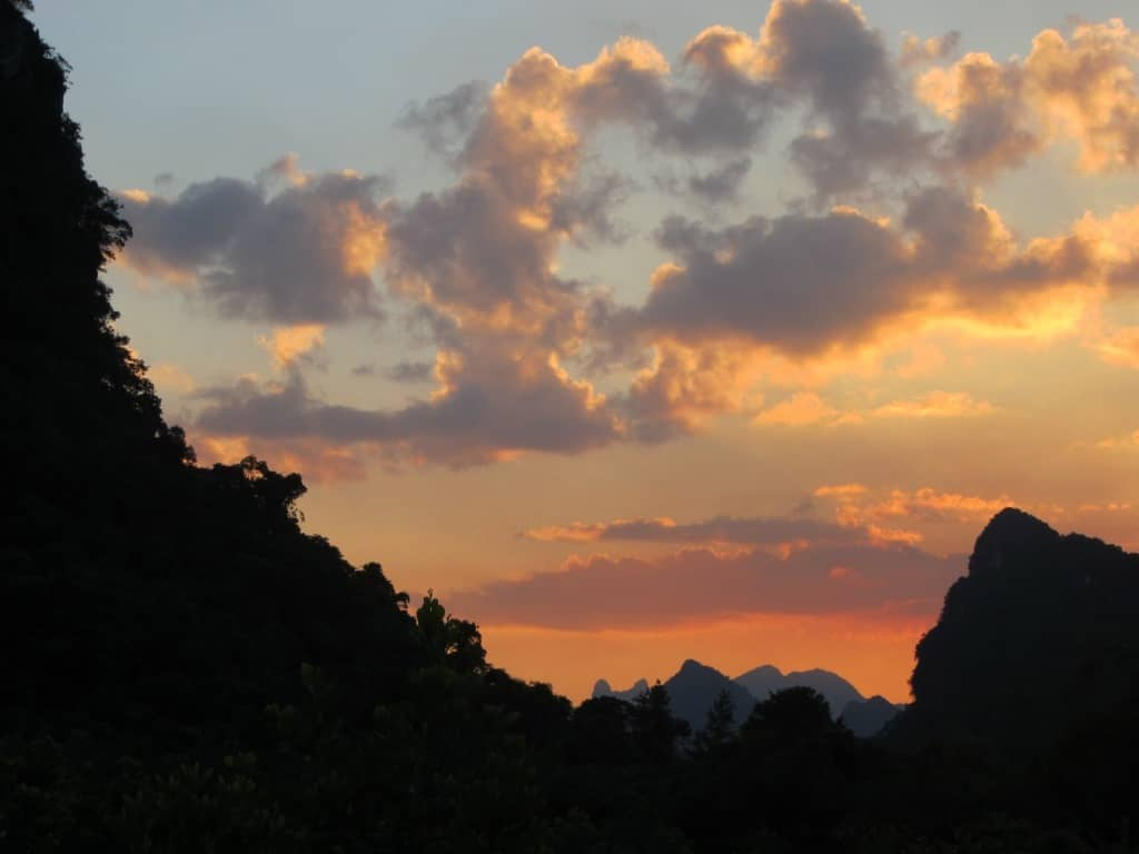 Mountain and sky scenery at Ha Long Bay