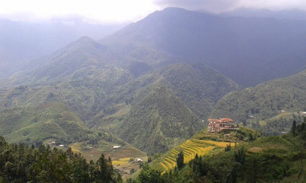 Mountain view from a Sapa hotel balcony