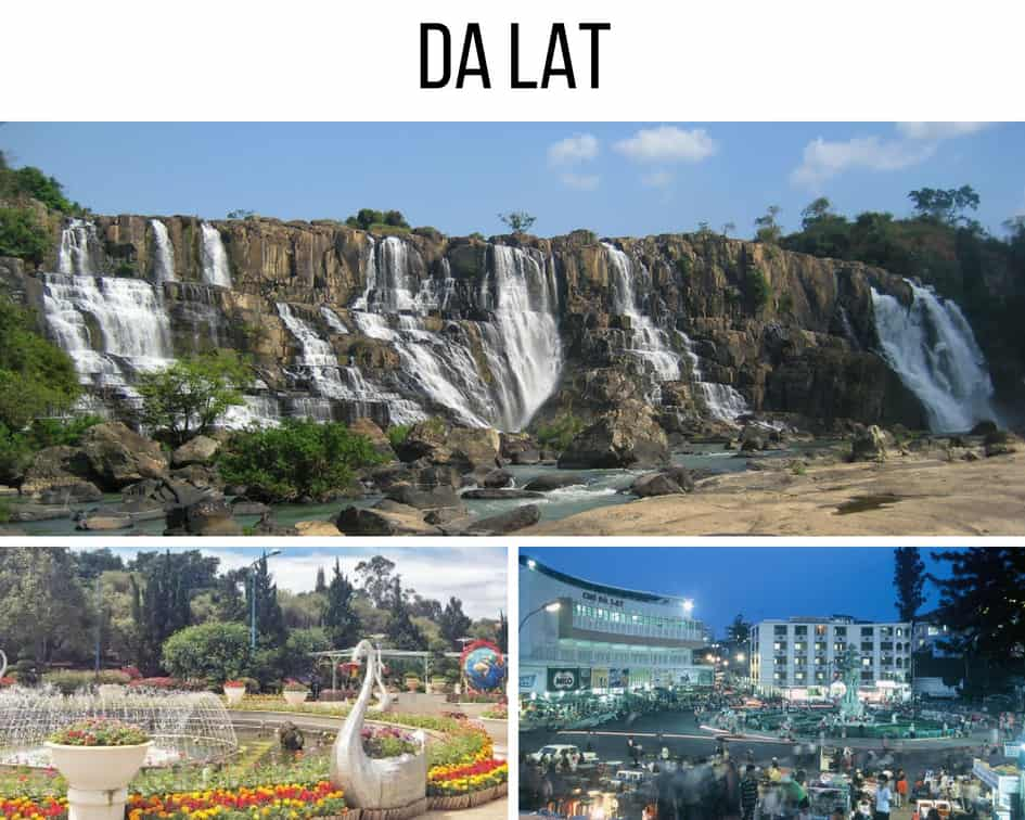 Waterfall, colorful garden adn Dalat nightlife