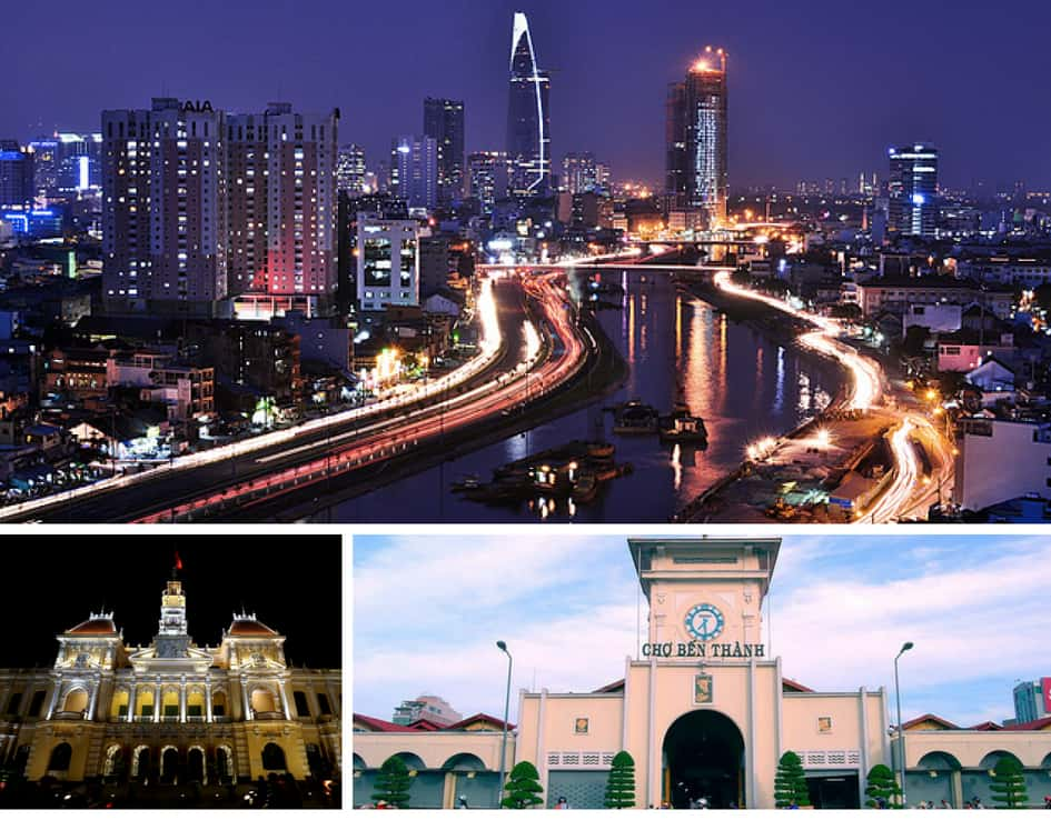 Saigon's cityscape, Ben Thanh market and City Hall