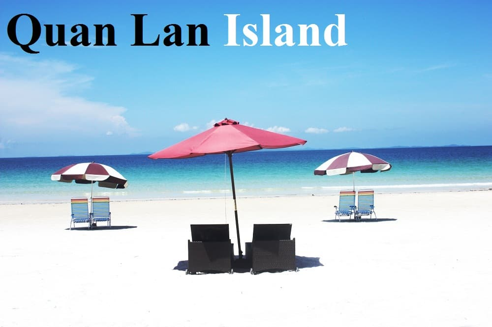 isolated beach with white sand and turquoise water in Quan Lan Island, Vietnam