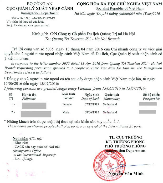 approval letter form immigration Vietnam