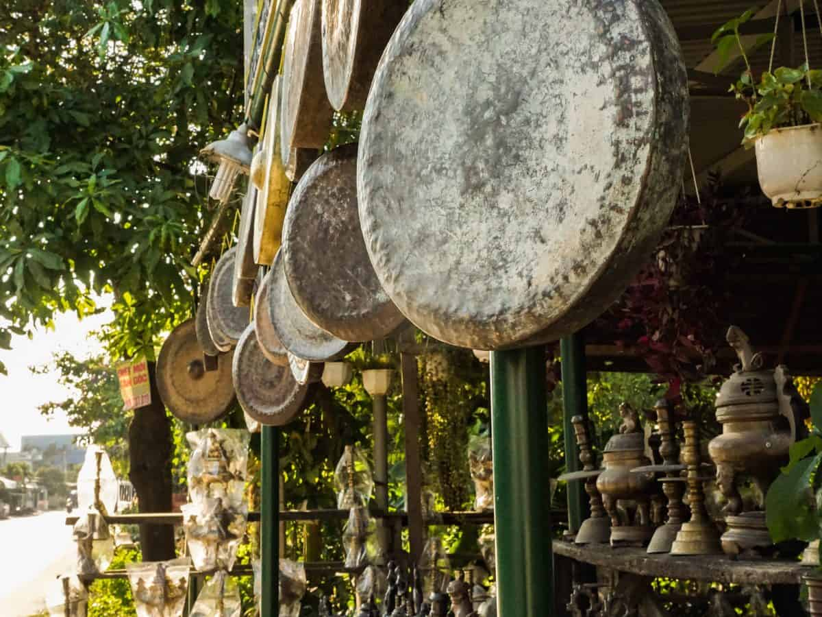 Vintage Drum hanging and copper Antiques at Phuoc Kieu Village