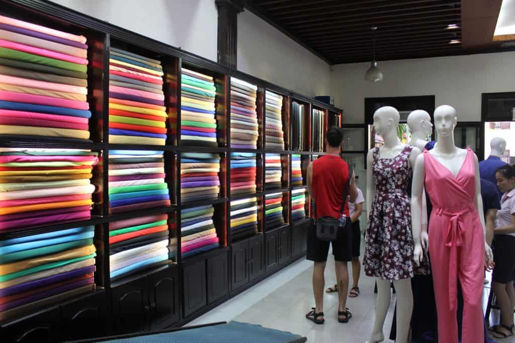 colorful fabrics in a tailor shop in Hoi An