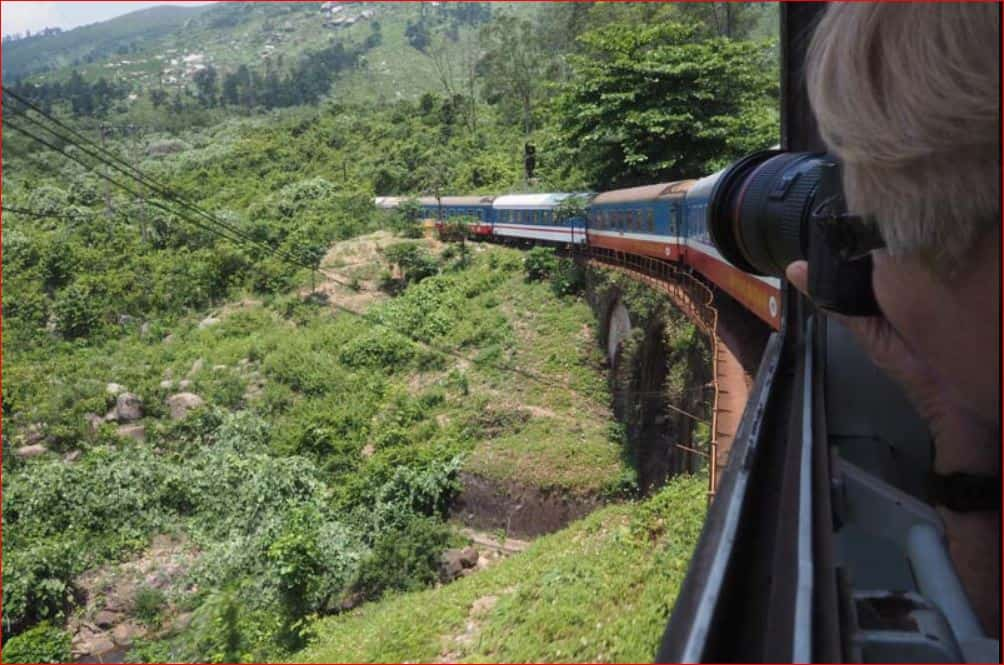 Taking a photo from a train in Vietnam