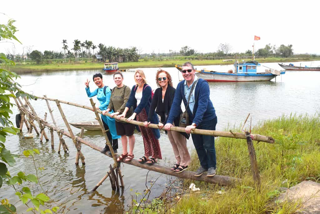 Standing on a Monkey Bridge on the Dinner with the Nguyens tour