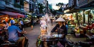 A busy food street in Saigon.