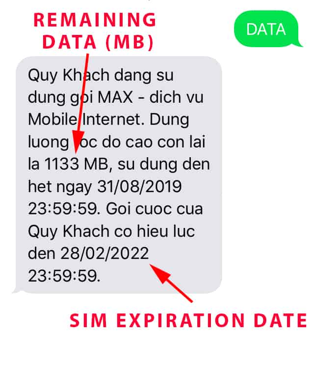 Sample Mobifone remaining data text