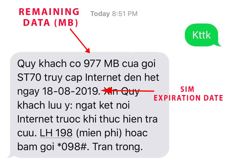 Sample Viettel remaining data text