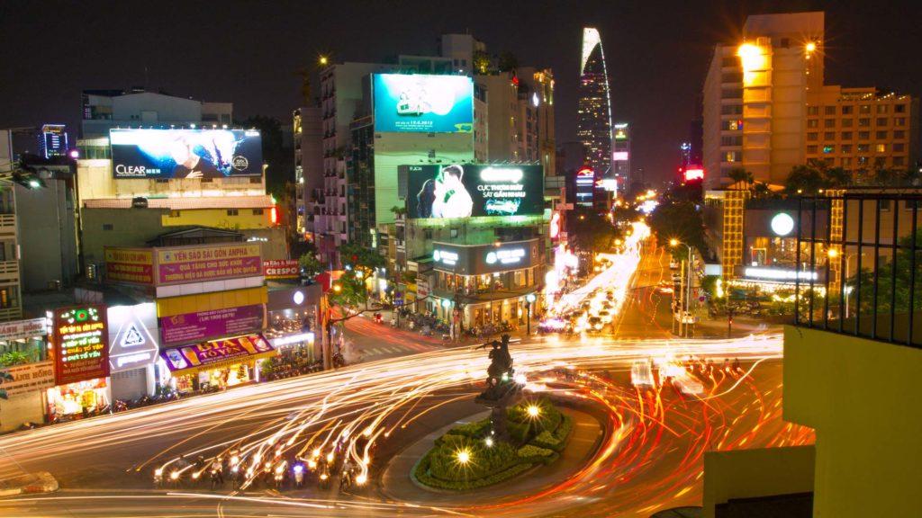 Traffic at night in HCMC