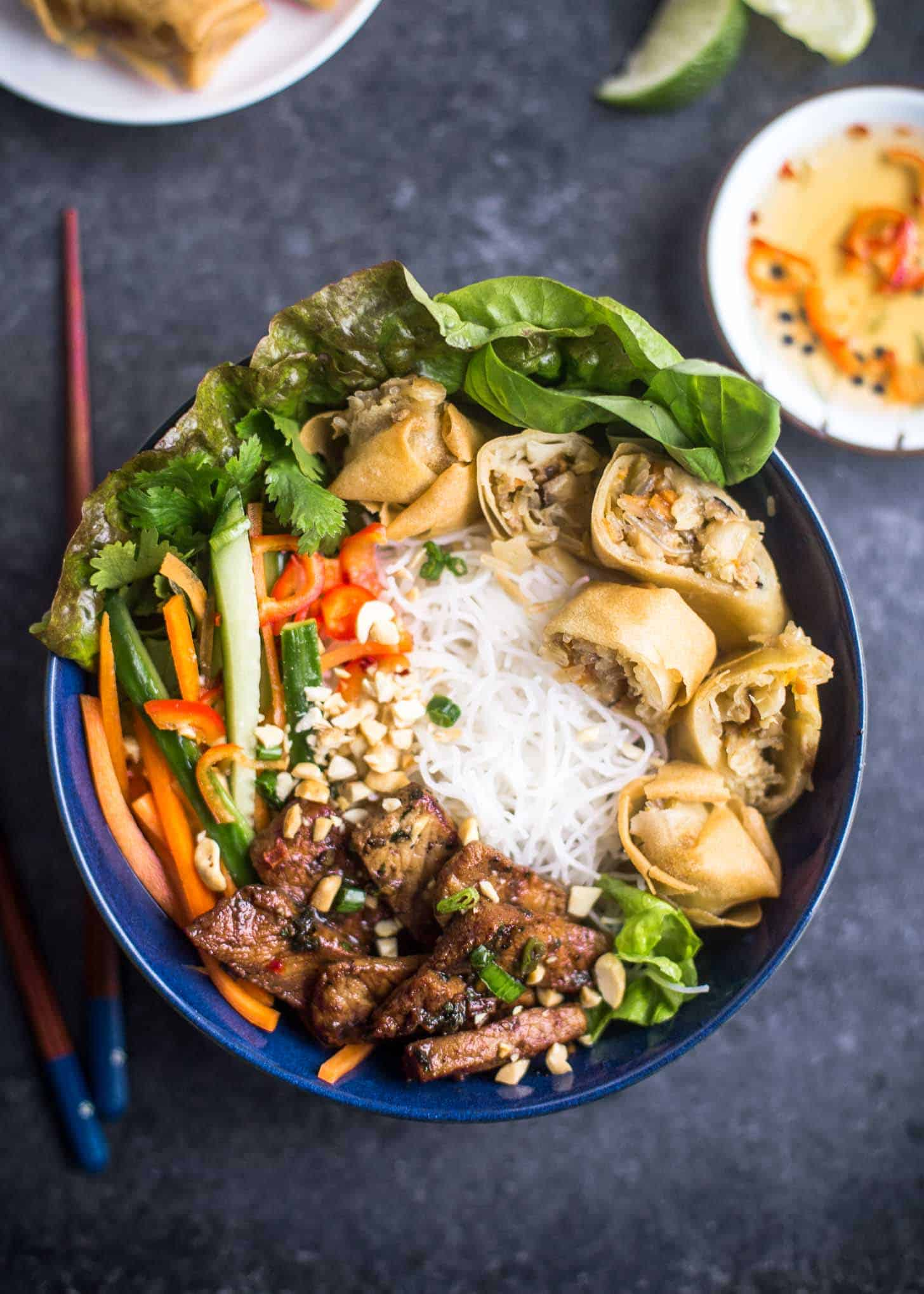 Delicious Bowl of Bun Thit Nuong Cha Gio with peanuts