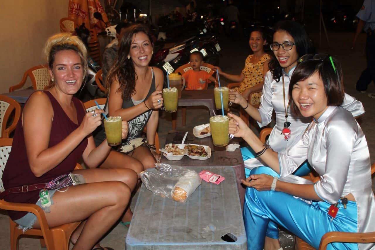 drinking sugarcane juice on the XO Saigon by Night Tour